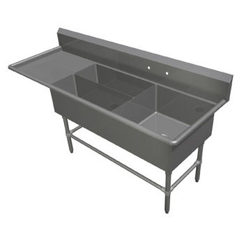 John Boos Pro Bowl Platter Sink, with Left Drainboard, 14 or 16 Gauge, Three Bowls