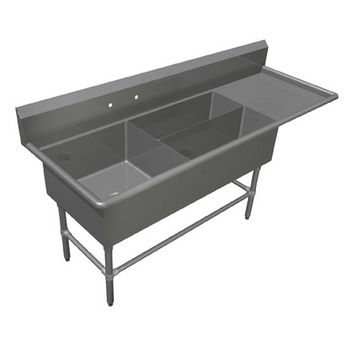 John Boos Pro Bowl Platter Sink, with Right Drainboard, 14 or 16 Gauge, Three Bowls