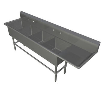 John Boos Pro Bowl NSF Sink, with Right Drainboard, 14 or 16 Gauge, Four Bowls