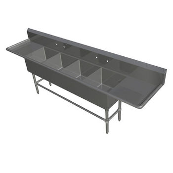 John Boos Pro Bowl NSF Sink, with Left & Right Drainboard, 14 or 16 Gauge, Four Bowls