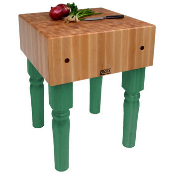 "John Boos AB Block, 18""W x 18""D x 10""H, 34"" Overall Height, Clover Green"