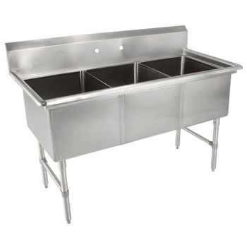 John Boos Budget Three Bowl Sink in Multiple Sizes with No Drainboard, 18-Gauge Type 430 Stainless Steel