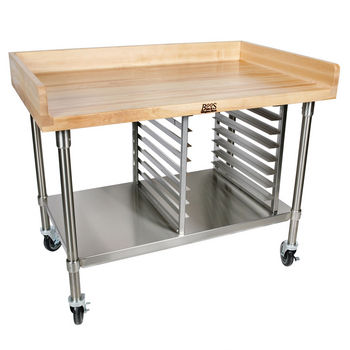 "Bakery Preparation Tables w/ Maple & 4"" Riser"