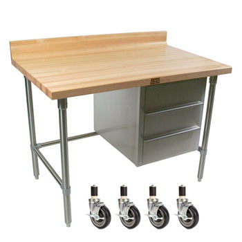 """John Boos Stainless Steel Bakers Table with 3-Drawer Tier and 1-3/4"""" Hard Maple Top with 4"""" Coved Back Riser"""