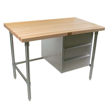 """John Boos Stainless Steel Bakers Table with 3-Drawer Tier and 1-3/4"""" Flat Hard Maple Top"""