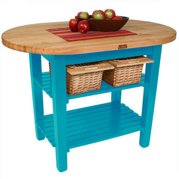 "John Boos Elliptical C-Table, 48""W x 1-3/4""D x 35""H, 2 Shelves, Caribbean Blue"