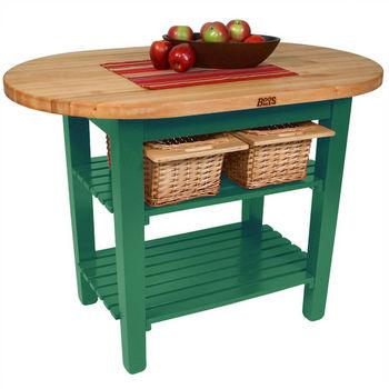 "John Boos Elliptical C-Table, 48""W x 1-3/4""D x 35""H, 2 Shelves, Clover Green"