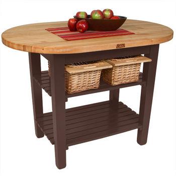 "John Boos Elliptical C-Table, 48""W x 1-3/4""D x 35""H, 2 Shelves, French Roast"