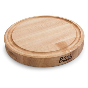 """John Boos Northern Hard Rock Maple, Edge Grain Cutting Board, 12"""" Diameter x 1-3/4"""" Thick, Juice Groove (One Side), Reversible w/ Recessed Finger Grips, Boos Block Cream Finish w/ Beeswax"""