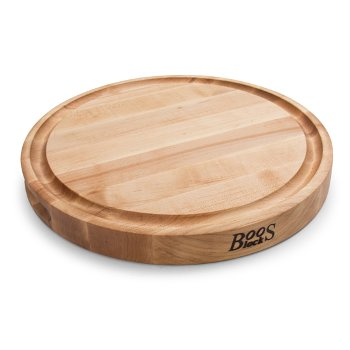 """John Boos Northern Hard Rock Maple, Edge Grain Cutting Board, 15"""" Diameter x 1-3/4"""" Thick, Juice Groove (One Side), Reversible w/ Recessed Finger Grips, Boos Block Cream Finish w/ Beeswax"""