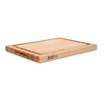 """John Boos """"R"""" Board w/ Groove Cutting Board, Northern Hard Rock Maple, Edge Grain, 20"""" W x 15"""" D x 1-1/2"""" Thick, Juice Groove (One Side), Reversible w/ Recessed Finger Grips, Boos Block Cream Finish w/ Beeswax"""
