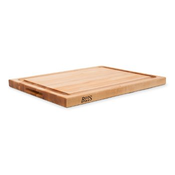 """John Boos """"R"""" Board w/ Groove Cutting Board, Northern Hard Rock Maple, Edge Grain, 24"""" W x 18"""" D x 1-1/2"""" Thick, Juice Groove (One Side), Reversible w/ Recessed Finger Grips, Boos Block Cream Finish w/ Beeswax"""