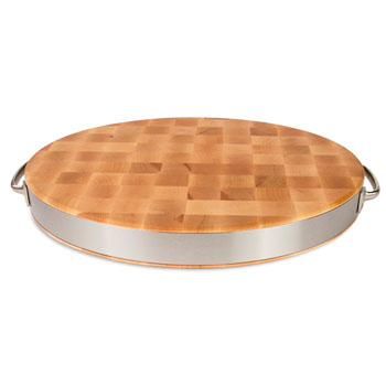 John Boos End Grain Oval Board with Stainless Steel Band & Handles, Hard Rock Maple