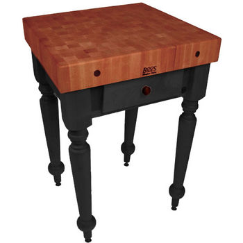 "John Boos Rustica Kitchen Island with 4"" Thick Cherry End Grain Top, Black, 30""W, 1 Drawer"