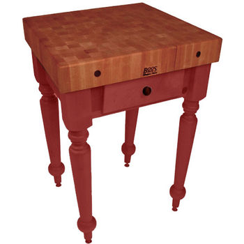 "John Boos Rustica Kitchen Island with 4"" Thick Cherry End Grain Top, Barn Red, 30""W, 1 Drawer"