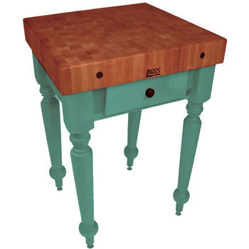 "John Boos Rustica Kitchen Island with 4"" Thick Cherry End Grain Top, Basil, 30""W, 1 Drawer"