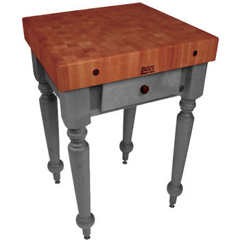 "John Boos Rustica Kitchen Island with 4"" Thick Cherry End Grain Top, Slate Gray, 30""W, 1 Drawer"