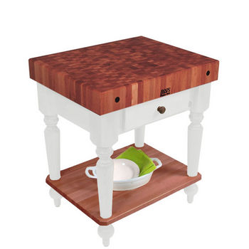 "John Boos Rustica Kitchen Island with 4"" Thick Cherry End Grain Top, Alabaster, 30""W, 1 Drawer & Shelf"