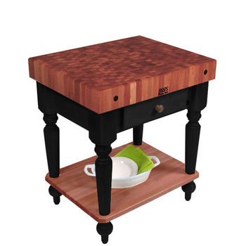 "John Boos Rustica Kitchen Island with 4"" Thick Cherry End Grain Top, Black, 30""W, 1 Drawer & Shelf"