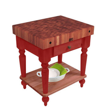 "John Boos Rustica Kitchen Island with 4"" Thick Cherry End Grain Top, Barn Red, 30""W, 1 Drawer & Shelf"