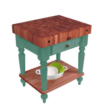 "John Boos Rustica Kitchen Island with 4"" Thick Cherry End Grain Top, Basil, 30""W, 1 Drawer & Shelf"