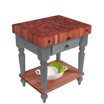 "John Boos Rustica Kitchen Island with 4"" Thick Cherry End Grain Top, Slate Gray, 30""W, 1 Drawer & Shelf"