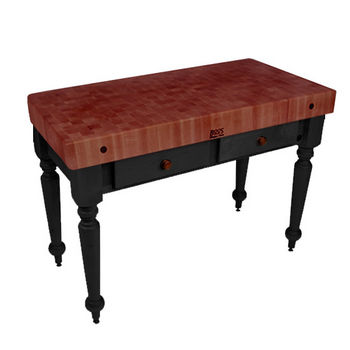 "John Boos Rustica Kitchen Island with 4"" Thick Cherry End Grain Top, Black, 48""W, 2 Drawers"