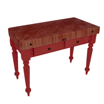 "John Boos Rustica Kitchen Island with 4"" Thick Cherry End Grain Top, Barn Red, 48""W, 2 Drawers"