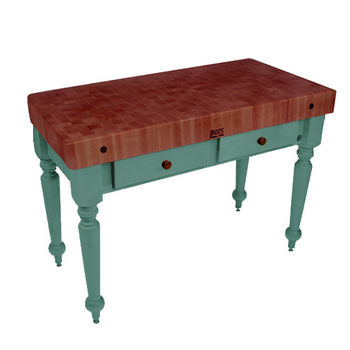 "John Boos Rustica Kitchen Island with 4"" Thick Cherry End Grain Top, Basil, 48""W, 2 Drawers"