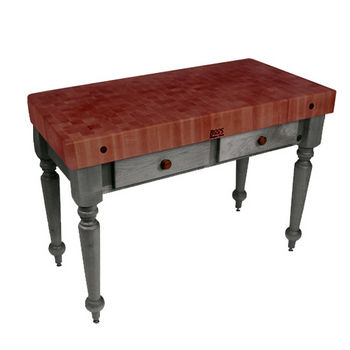 "John Boos Rustica Kitchen Island with 4"" Thick Cherry End Grain Top, Slate Gray, 48""W, 2 Drawers"