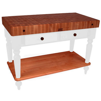 "John Boos Rustica Kitchen Island with 4"" Thick Cherry End Grain Top, Alabaster, 48""W, 2 Drawers & Shelf"