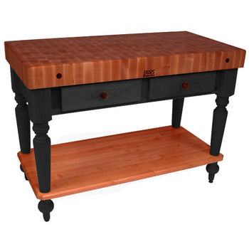 "John Boos Rustica Kitchen Island with 4"" Thick Cherry End Grain Top, Black, 48""W, 2 Drawers & Shelf"