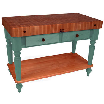 "John Boos Rustica Kitchen Island with 4"" Thick Cherry End Grain Top, Basil, 48""W, 2 Drawers & Shelf"