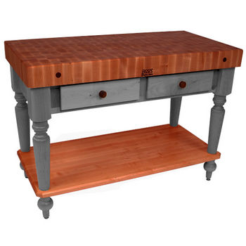 "John Boos Rustica Kitchen Island with 4"" Thick Cherry End Grain Top, Slate Gray, 48""W, 2 Drawers & Shelf"