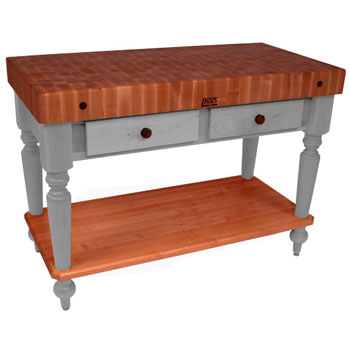 "John Boos Rustica Kitchen Island with 4"" Thick Cherry End Grain Top, Useful Gray, 48""W, 2 Drawers & Shelf"