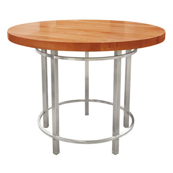 John Boos Cherry Metro Oasis Table, Varnique, with Brushed SS Base