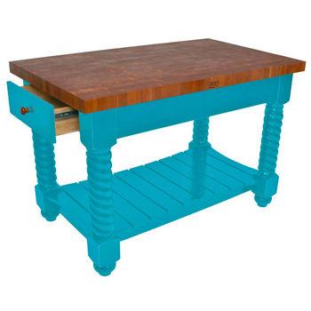 """John Boos Cherry Tuscan Isle Boos Block, 54""""W x 32""""D x 36""""H, Caribbean Blue"""