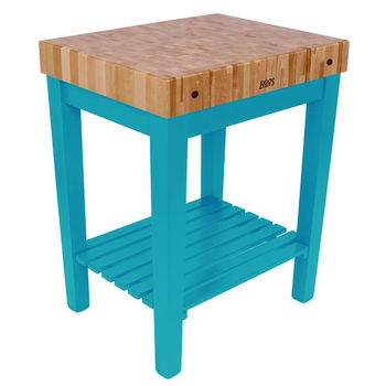 "John Boos Chef Block with Shelf, 30""W x 24""D x 36""H, 4"" Thick, Caribbean Blue"