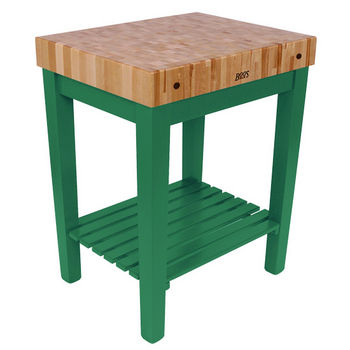 "John Boos Chef Block with Shelf, 30""W x 24""D x 36""H, 4"" Thick, Clover Green"