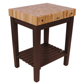 "John Boos Chef Block with Shelf, 30""W x 24""D x 36""H, 4"" Thick, French Roast"