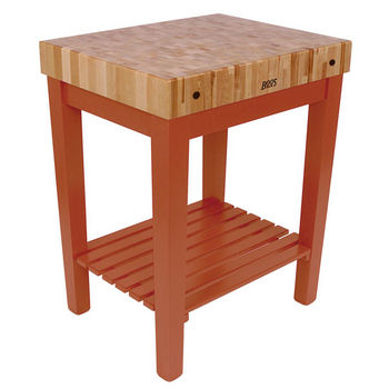 "John Boos Chef Block with Shelf, 30""W x 24""D x 36""H, 4"" Thick, Spicy Latte"