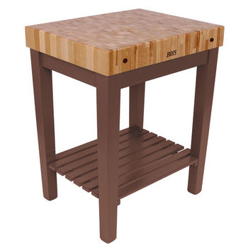 "John Boos Chef Block with Shelf, 30""W x 24""D x 36""H, 4"" Thick, Walnut Stain"