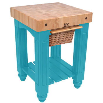 "John Boos Food Preparation Station, 25in x 24in x 4"" square Top, Caribbean Blue"