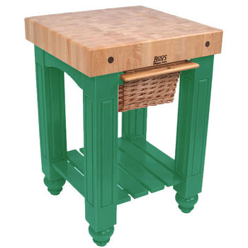 "John Boos Food Preparation Station, 25in x 24in x 4"" square Top, Clover Green"