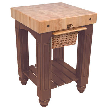 "John Boos Food Preparation Station, 25in x 24in x 4"" square Top, Walnut Stain"