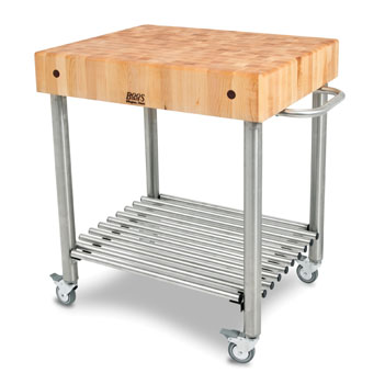 John Boos Northern Maple Butcher Block Top Kitchen Cart Angle View