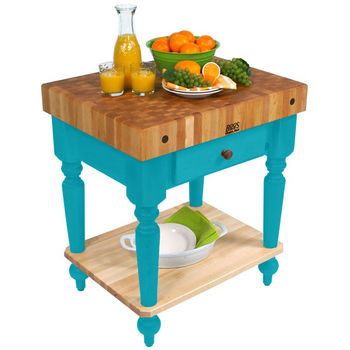 30'' Caribbean Blue Work Table with Shelf