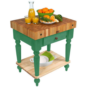 30'' Clover Green Work Table with Shelf