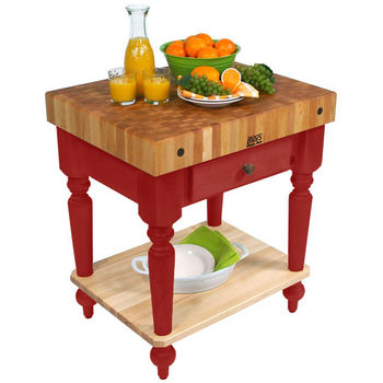 30'' Barn Red Work Table with Shelf