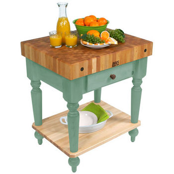 30'' Basil Green Work Table with Shelf